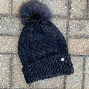 Lauren Conrad Black Knit Puff Ball Winter Hat